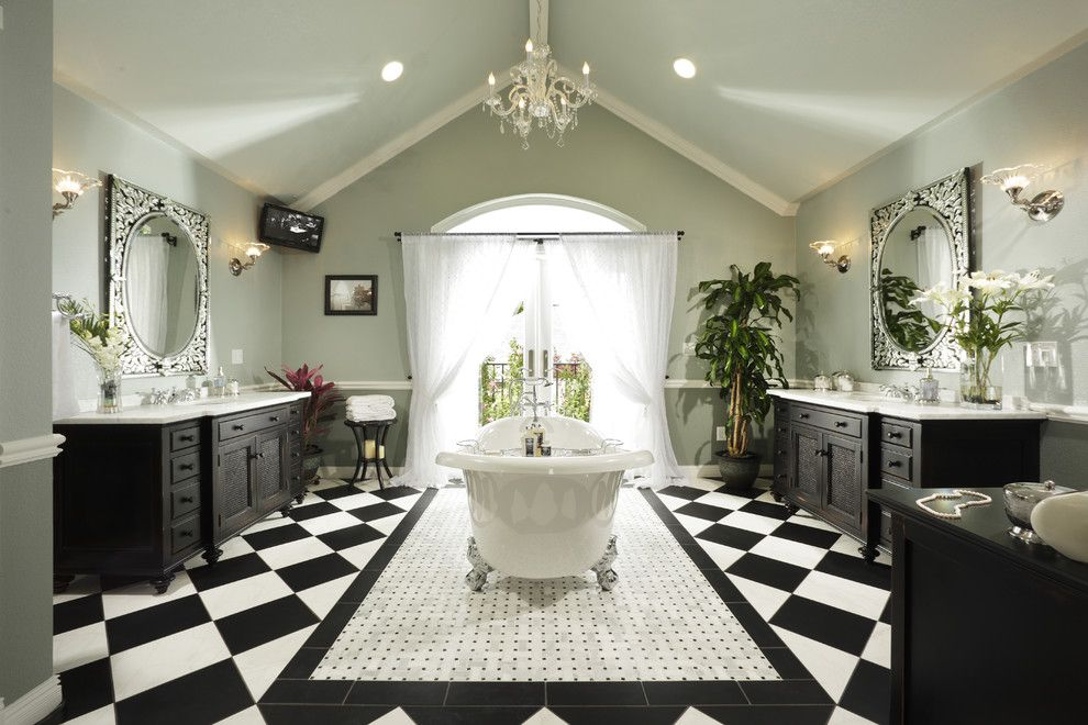 Great Dane Harlequin for a Traditional Bathroom with a Curtains and Bathroom Masterpiece by Dreambuilders Home Remodeling