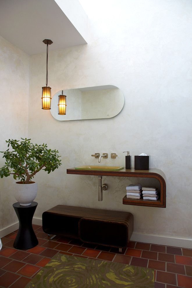 Great Neck Nissan for a Modern Powder Room with a Wood Countertops and Interiors of the Mill Neck Residence by Narofsky Architecture + Ways2design