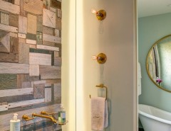 Great Wall Edmond Ok for a Contemporary Bathroom with a Kohler Purist Wall Mount and Custom River House by Selle Valley Construction, Inc.