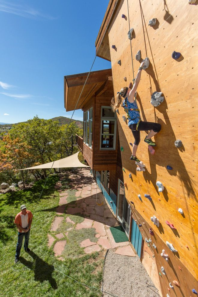 Great Wall Edmond Ok for a Contemporary Exterior with a Wood Climbing Wall and Wagner Residence by Wagner Design Studio