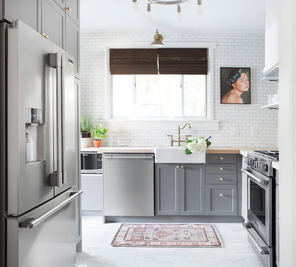 Greek Isles Charlotte for a Contemporary Kitchen with a Farmhouse Sink and Frigidaire by Frigidaire®