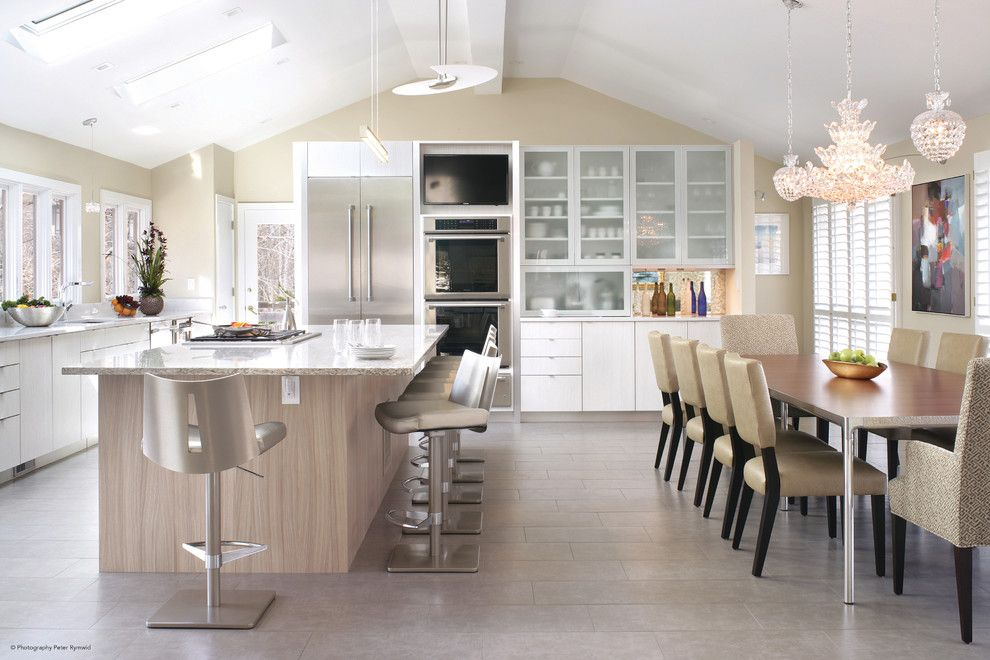 Greek Revival Homes for a Modern Kitchen with a Skylight and Thermador by Thermador Home Appliances
