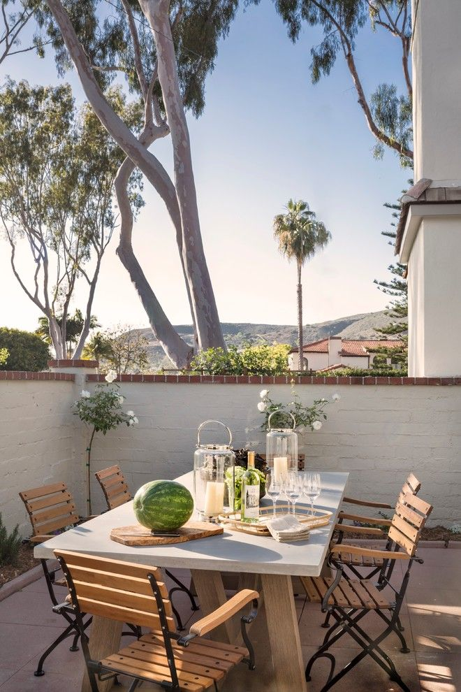 Greek Revival Homes for a Traditional Patio with a Normandy Revival and El Camino Del Mar, Laguna Beach by Clark Collins   Collins Design & Development