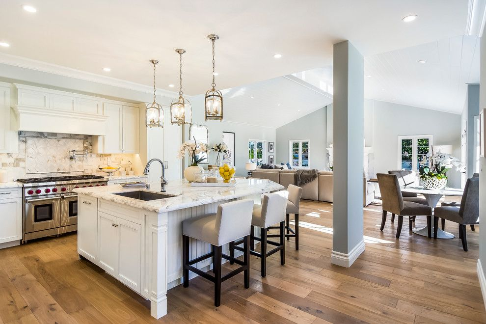 Green Thumb Ventura for a Contemporary Kitchen with a Island Sink and a Beautiful Open Plan Kichen with Marina Oak Wood Floors Designed by Architect M by Hallmark Floors