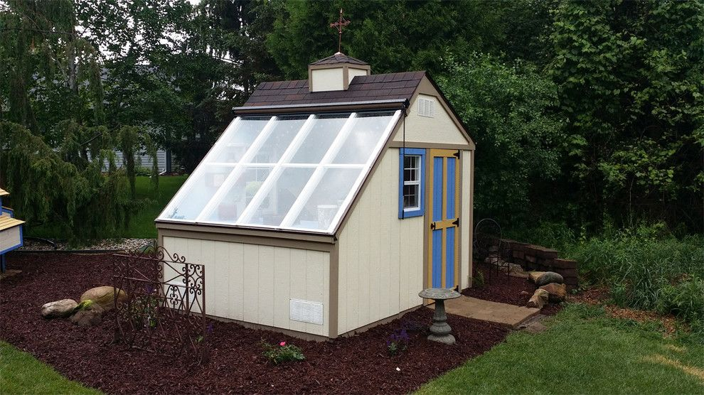 Green Thumb Ventura for a Contemporary Shed with a Bush and Greenhouse Shed / Solar Building by Backyard Buildings
