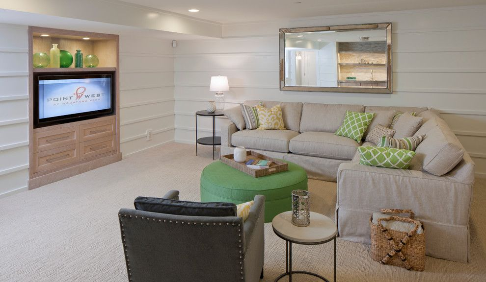 Greystone Country Club for a Beach Style Basement with a Light Green and Point West at Macatawa Park by Francesca Owings Interior Design