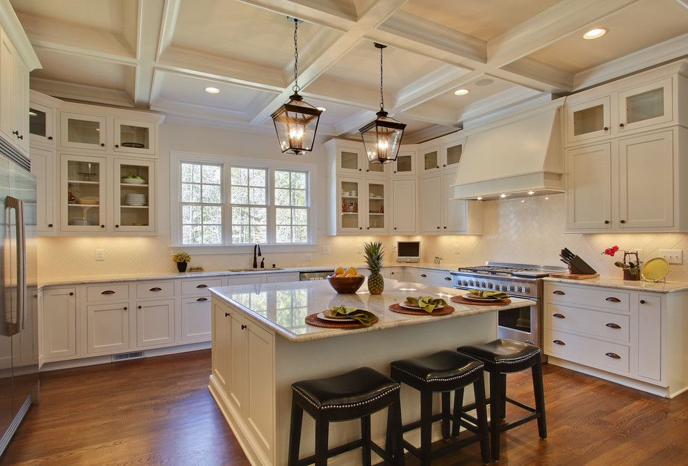 Grimesland Nc for a Traditional Kitchen with a Coffered Ceiling and Otrada Llc by Tad Davis Photography