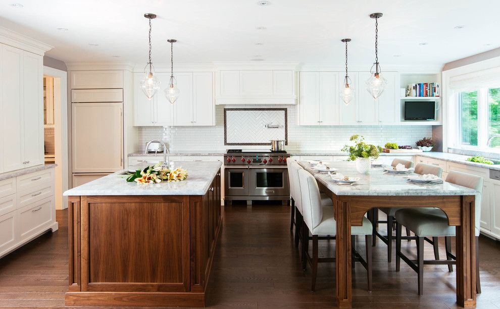 Grimesland Nc for a Transitional Kitchen with a Dark Wood Floors and Outside Toronto by Meghan Carter Design, Inc.