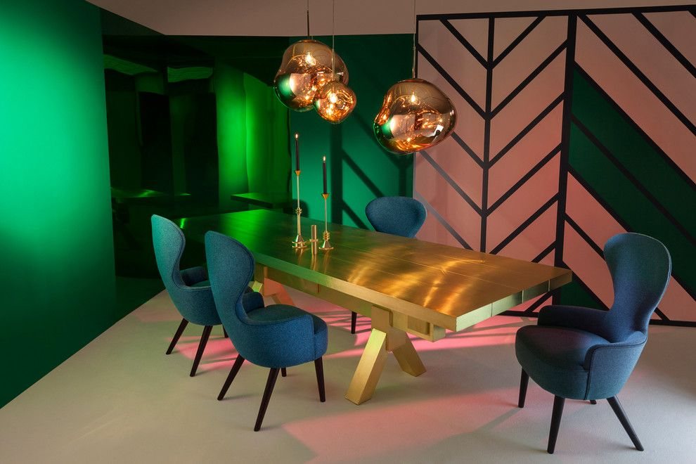 Grote Lighting for a Contemporary Dining Room with a Wingback and Tom Dixon Test by Tom Dixon