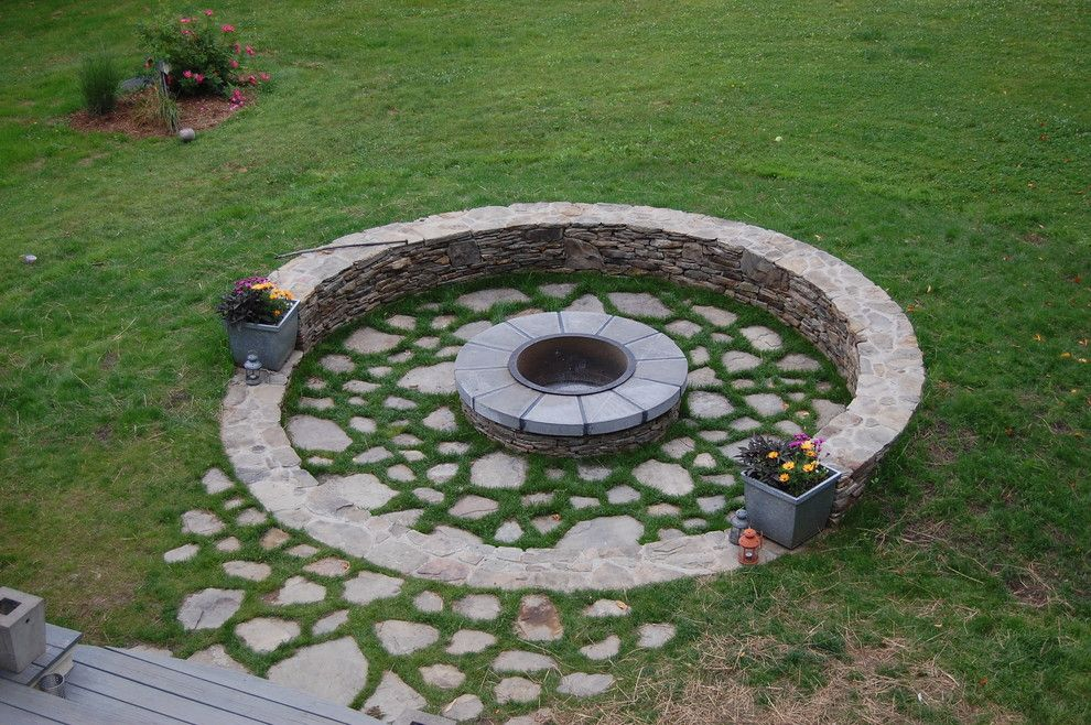 Growing Lavender From Seed for a Traditional Landscape with a Patio and Connecticut Fire Pit by Coger Residential