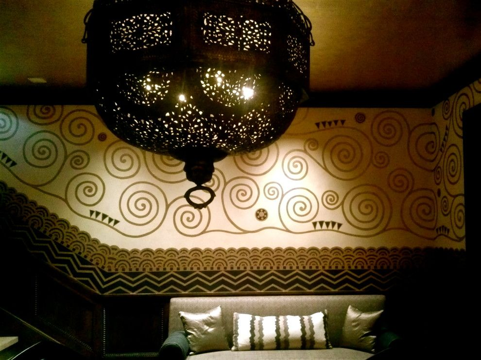 Gustav Klimt Artwork for a Mediterranean Bedroom with a Art Deco and Malibu Residence by Kelly Holden Arts