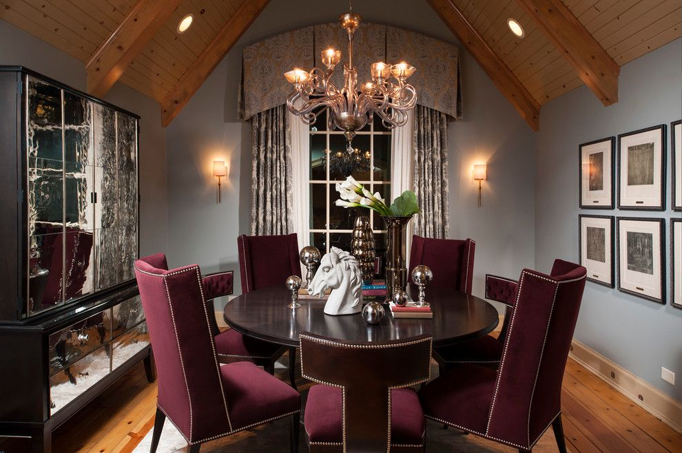 Gustav Klimt Artwork for a Transitional Dining Room with a Mirrored Cabinet and Dining Room by Donna Mondi Interior Design