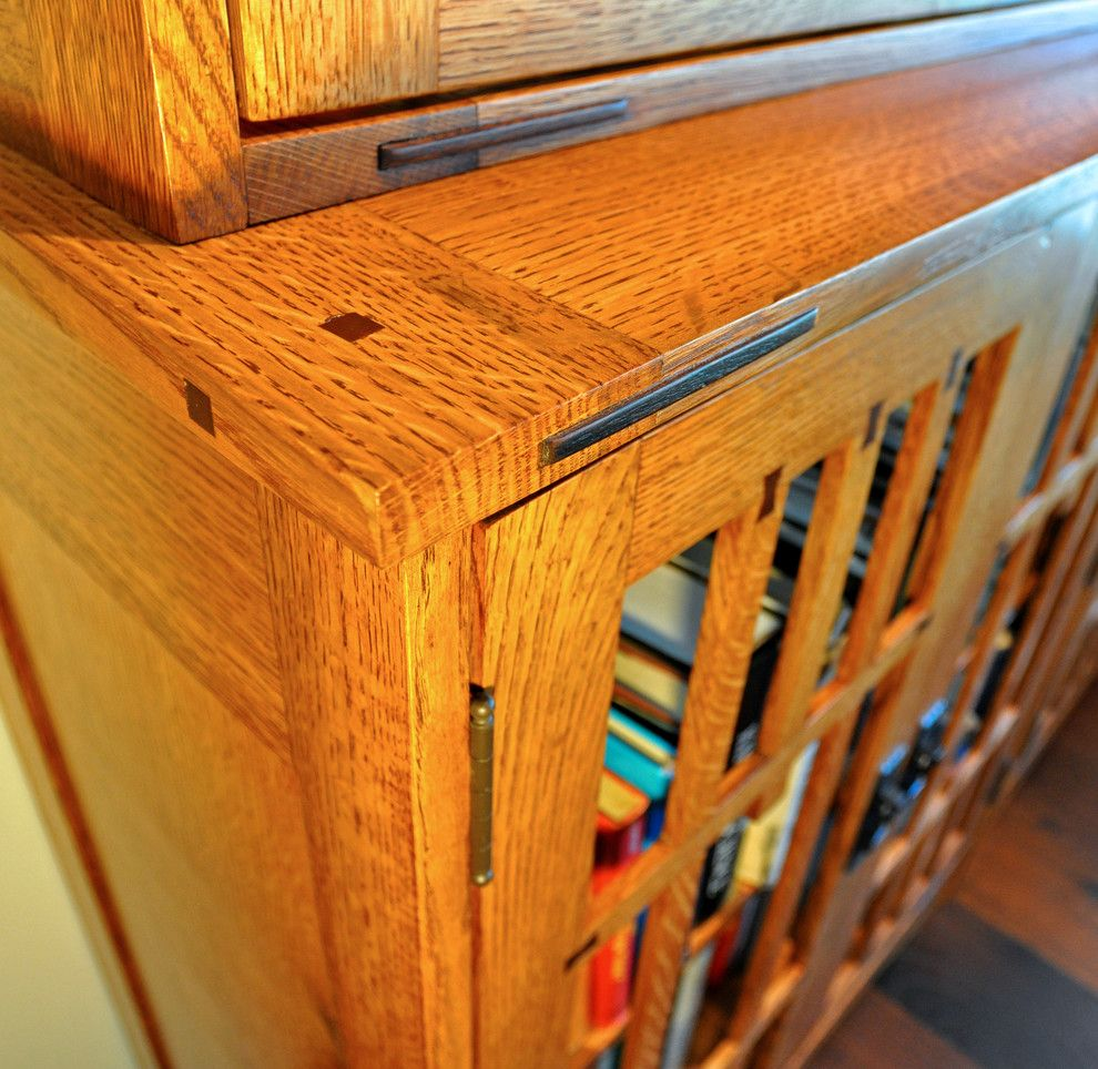 Gustav Stickley for a Eclectic Spaces with a Oak and Arts and Crafts Book Case by Srq Woodworks Co.