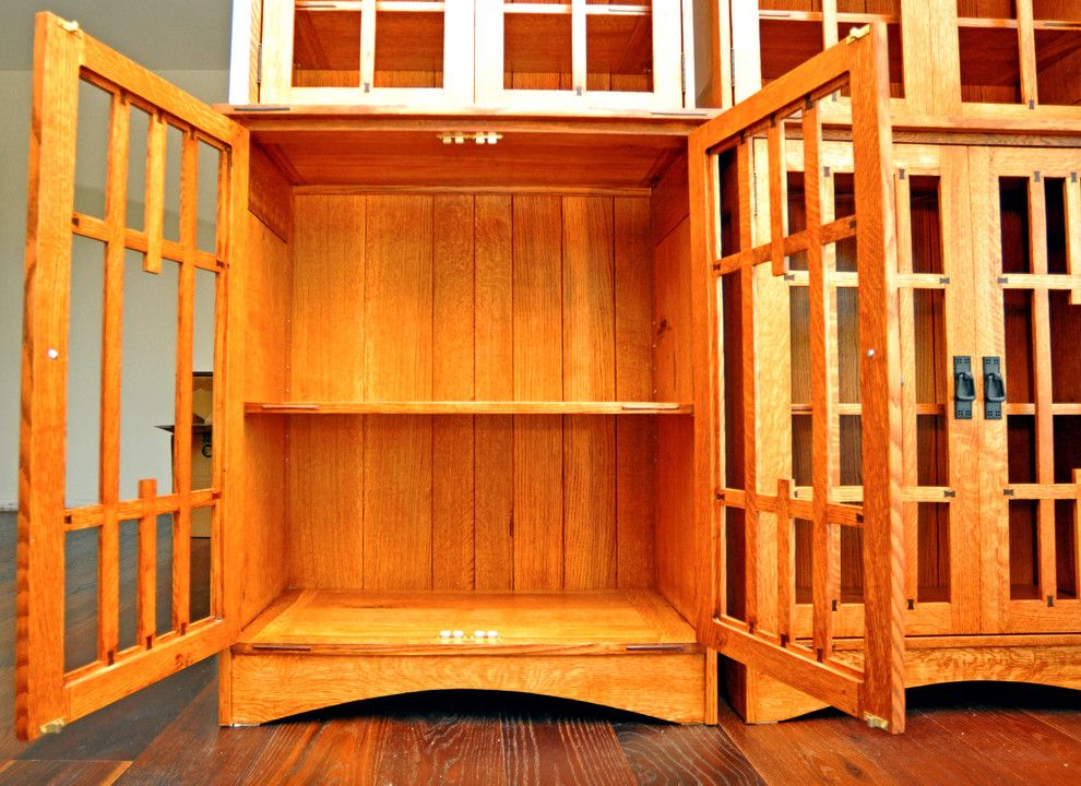 Gustav Stickley for a Eclectic Spaces with a White Oak and Arts and Crafts Book Case by Srq Woodworks Co.