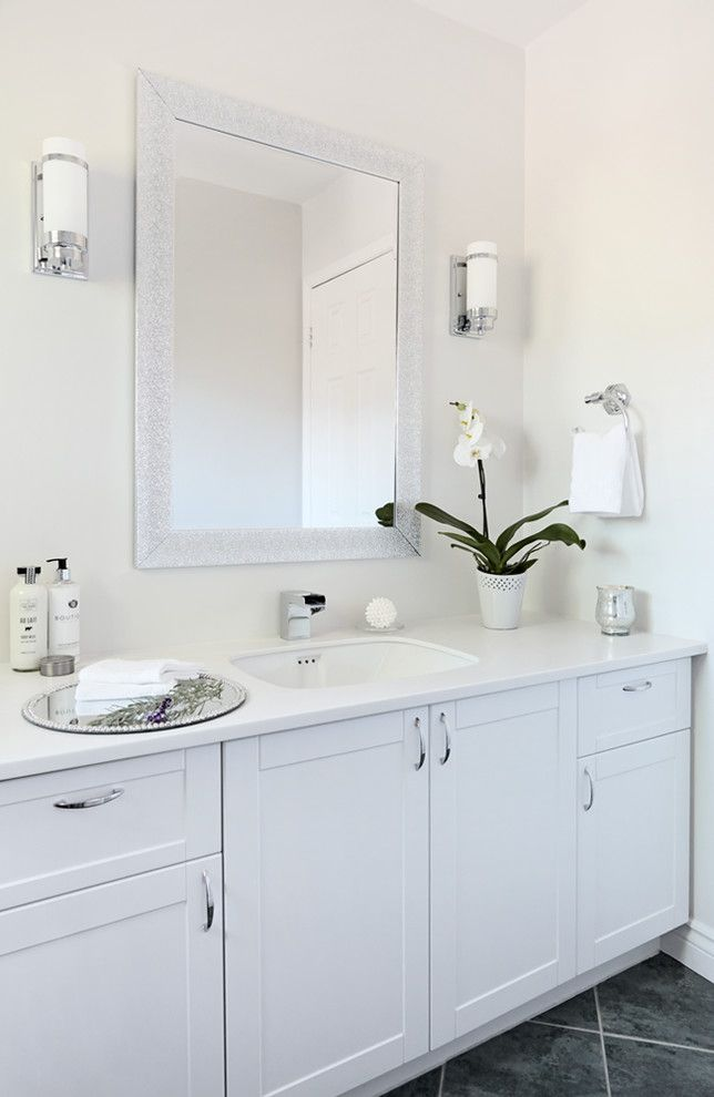 Habitat for Humanity Charlottesville for a Transitional Spaces with a Bathroom Mirrors and Oakville Project: 3 Bathroom Facelift by Sanura Design