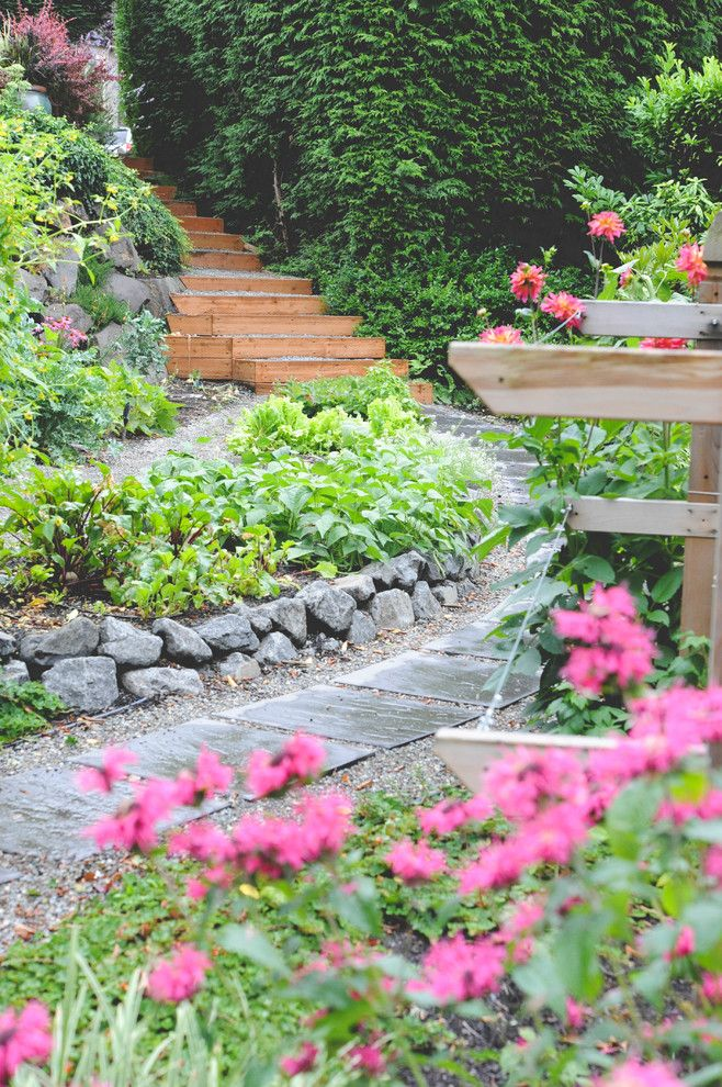 Habitat for Humanity Seattle for a Rustic Landscape with a Flower Garden and Mercer Island Secret Garden by Seattle Urban Farm Company