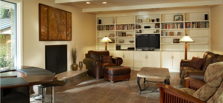 Hatfield Pool for a Modern Family Room with a No Mantle and Dartbrook by Hatfield Builders & Remodelers