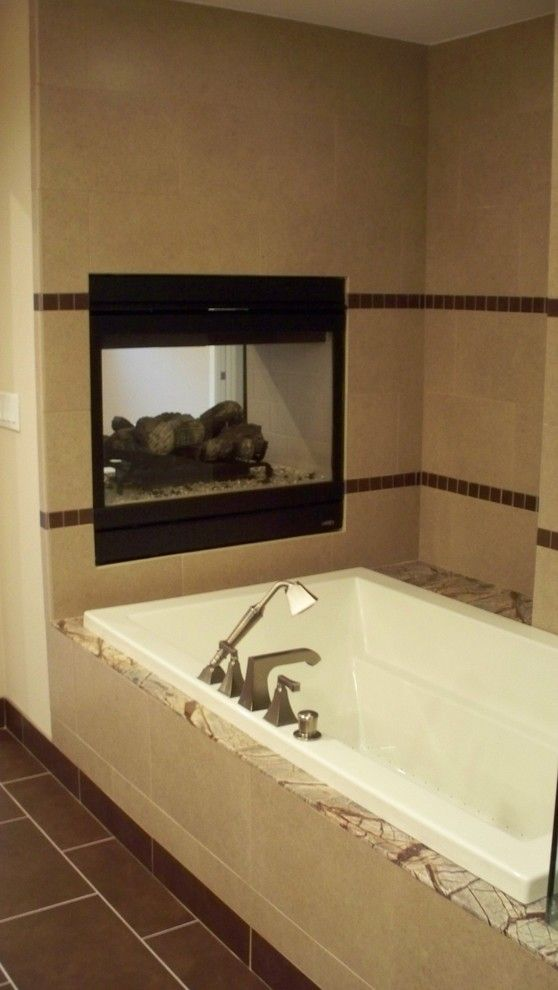Hatfield Pool for a Traditional Bathroom with a Master Fireplace and Bathrooms by Hatfield Builders & Remodelers