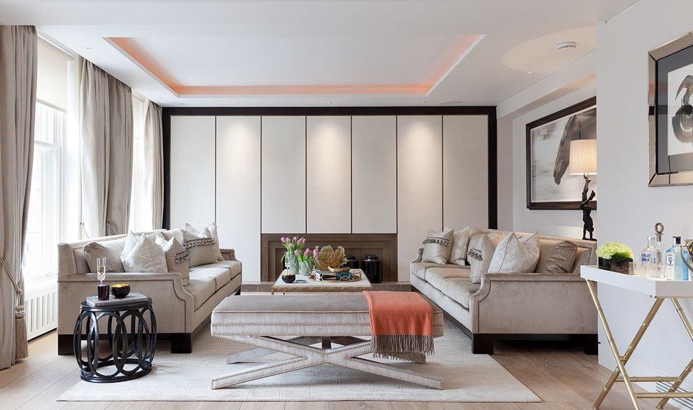 Havenly for a Contemporary Living Room with a Cove Lighting and Lowndes Square, Knightsbridge by Taylor Howes Designs