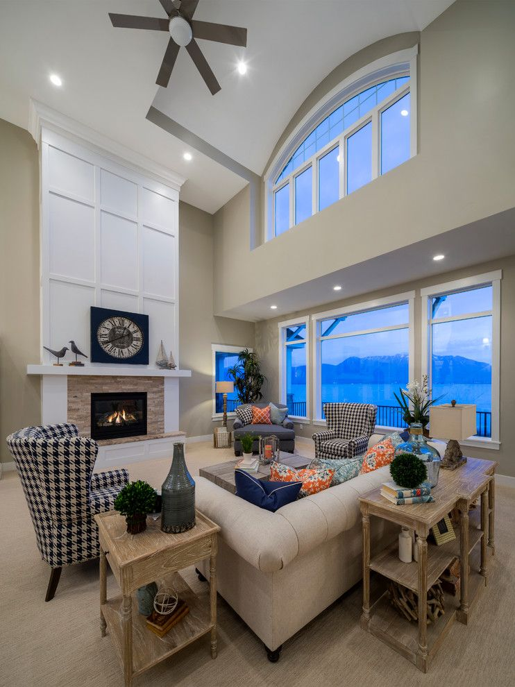 Havenly for a Farmhouse Family Room with a Fireplace Mantle and Saratoga Springs Residence by Purehaven Homes