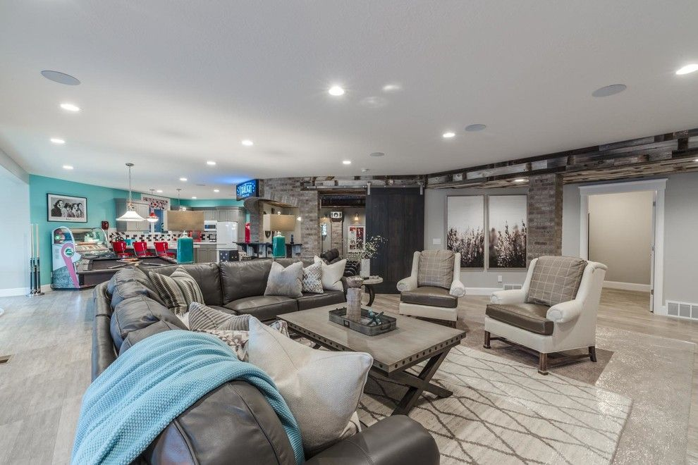 Havenly for a Rustic Living Room with a Basement and the Heritage Haven 2016 Salt Lake Award Winning Parade Home by Tree Haven Homes