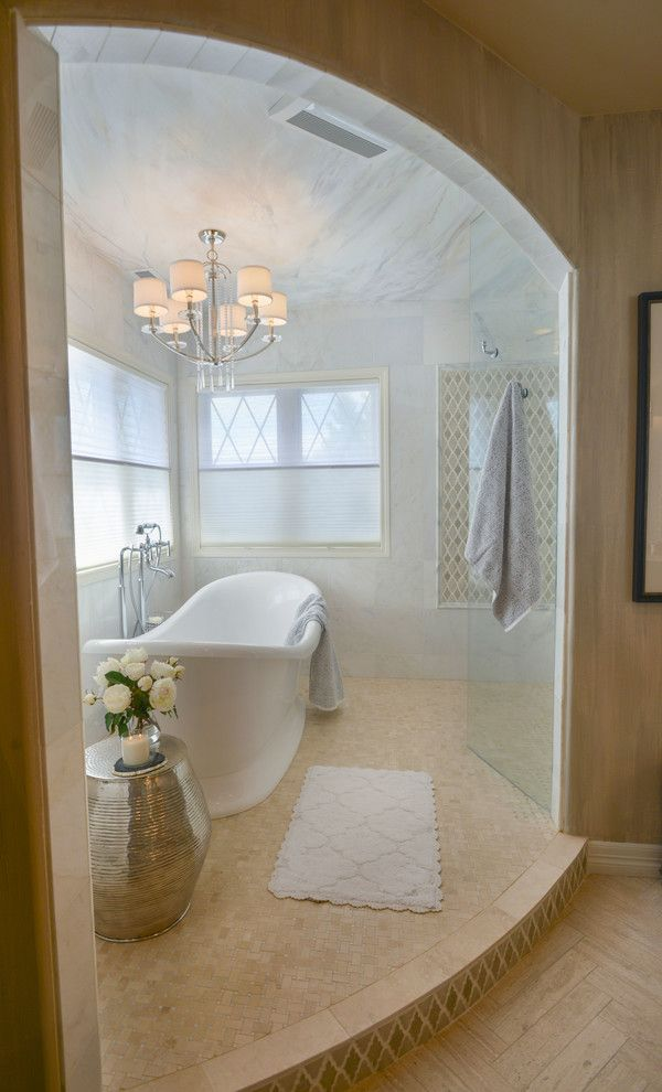 Havenly for a Transitional Bathroom with a Silver Stand and Lookout Ridge Master Bathroom by Haven