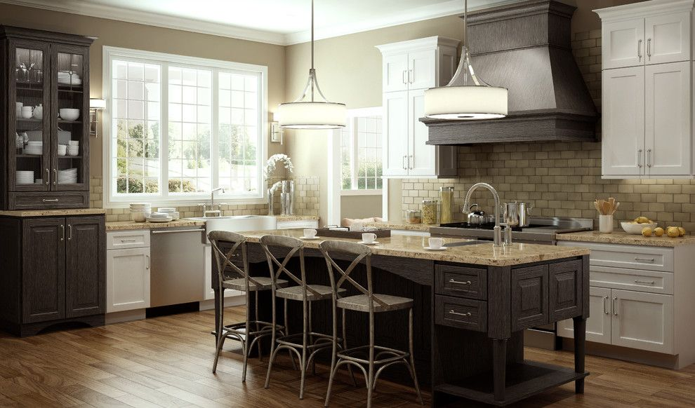 Hawthorne Appliances for a Traditional Kitchen with a White Cabinetry and Accent with Weathered Finishes   Transitional and Rustic Kitchen by Dura Supreme Cabinetry