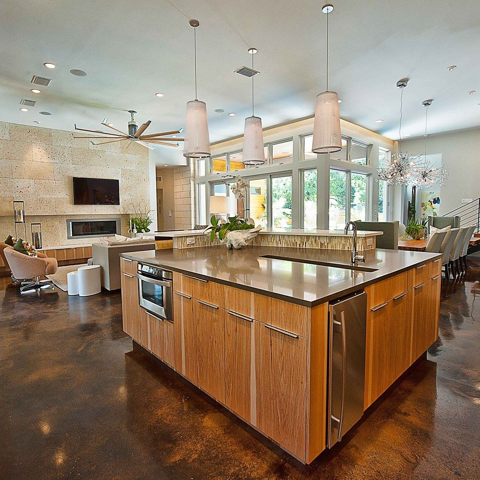 H&c Concrete Stain for a Contemporary Kitchen with a Great Room and Bowman Kitchen by Cornerstone Architects