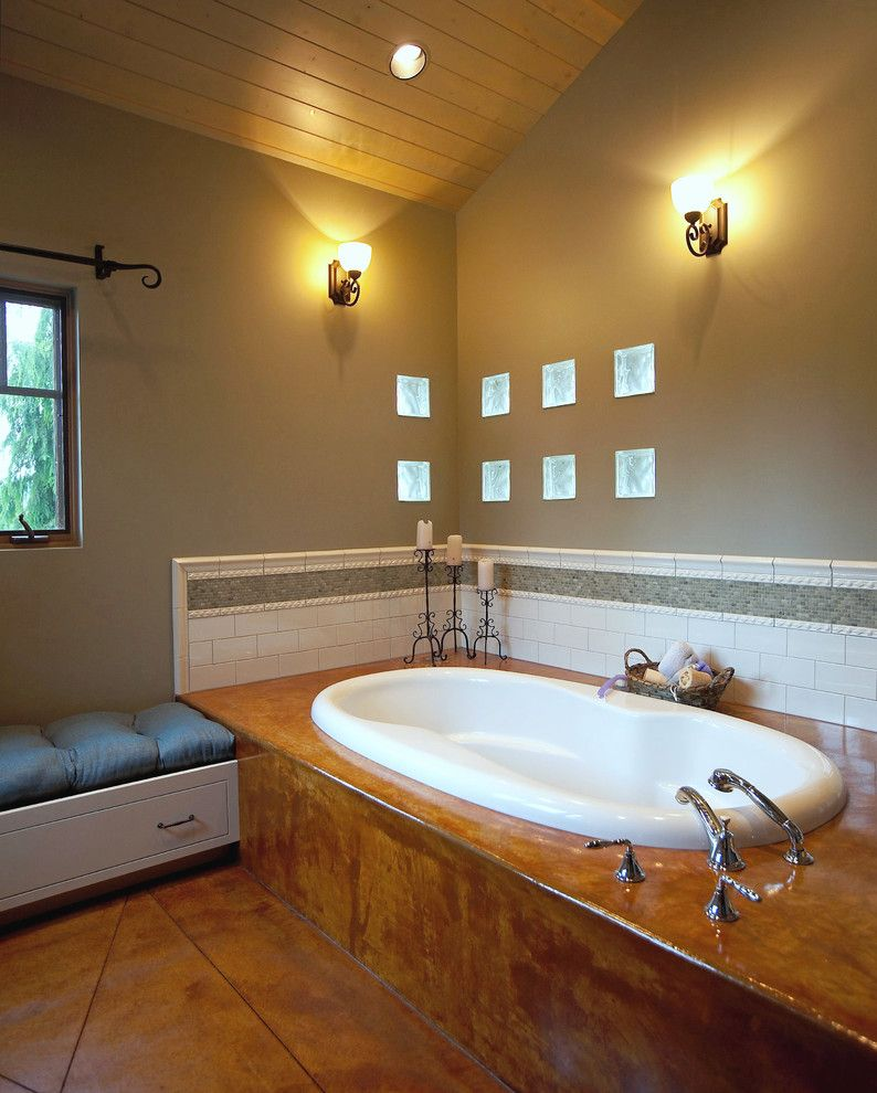 H&c Concrete Stain for a Eclectic Bathroom with a Wall Sconce and Master Bath by Dan Nelson, Designs Northwest Architects