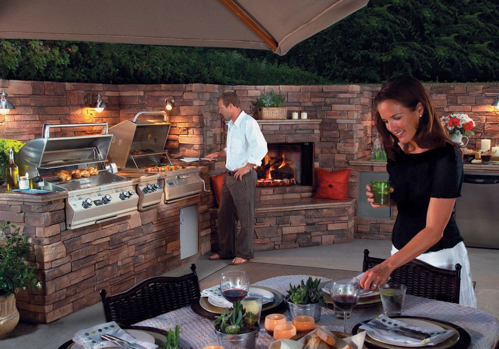 Hearth and Grill for a Traditional Patio with a Fireplace and Outdoor Kitchens by Lanchester Grill & Hearth