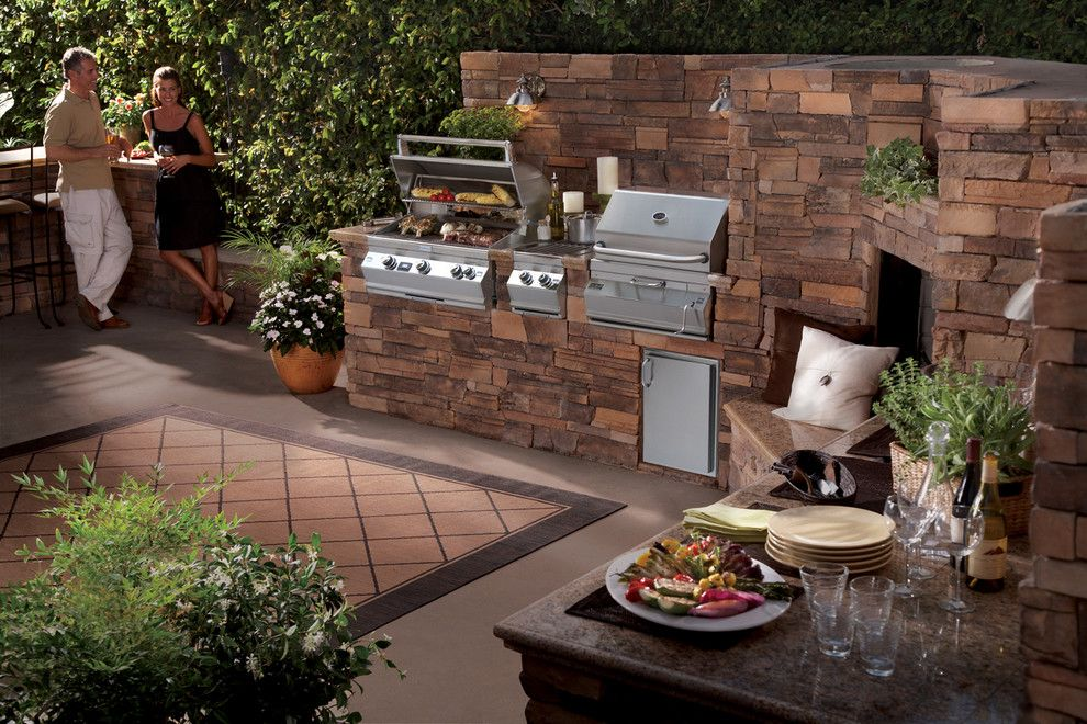 Hearth and Grill for a Traditional Patio with a Outdoor Grill and Outdoor Kitchens by Lanchester Grill & Hearth