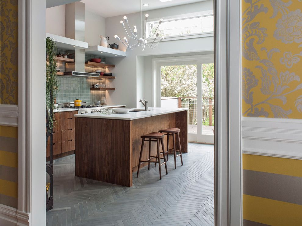 Heath Ceramics for a Contemporary Kitchen with a Door Casing and San Francisco Remodel by Hart Wright Architects, Aia
