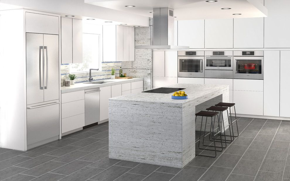 Heath Ceramics for a Contemporary Kitchen with a Waterfall Countertop and Bosch Home Appliances by Bosch Home Appliances