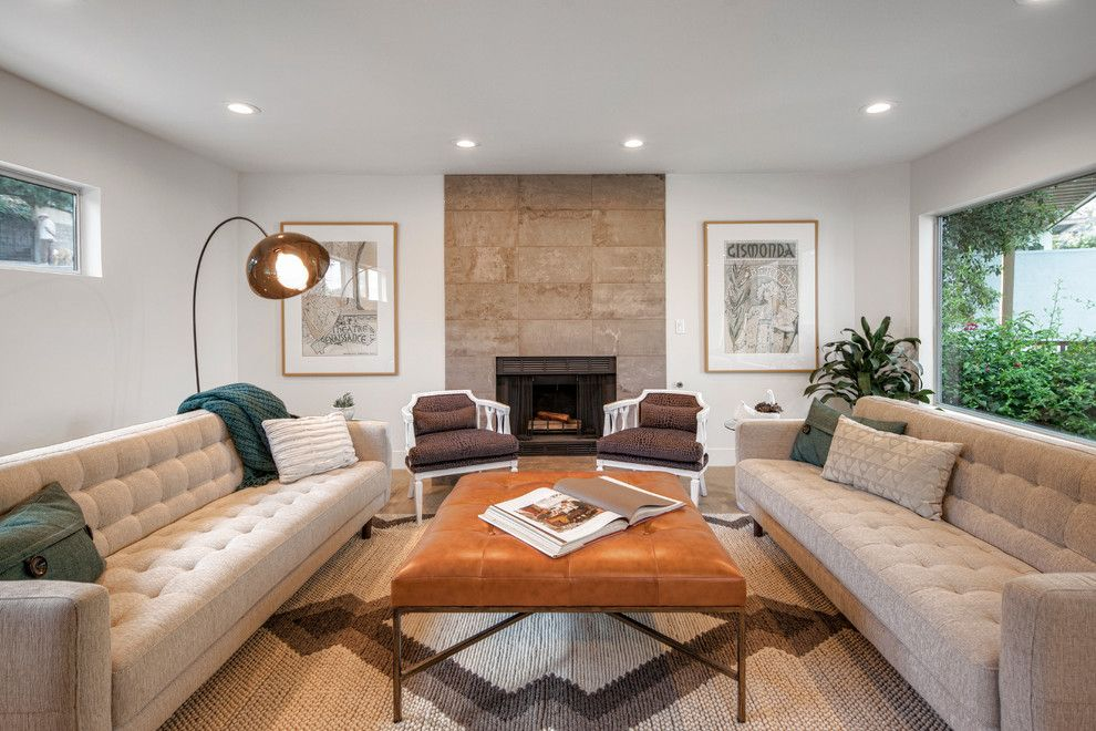 Hgtv Designers for a Contemporary Living Room with a Beige Tile Fireplace and Rotary Dr, Silverlake by Hls Remodeling and Design Inc.