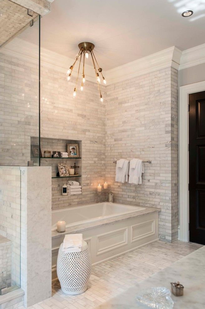 Hgtv Designers for a Transitional Bathroom with a Vintage Lighting and Recent Work  Indiana Private Residence by Shannon Connor / Maison, Llc.