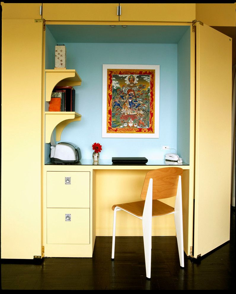 Hideaway Storage for a Contemporary Home Office with a Yellow Home Office and West Village Studio by Leslie Banker