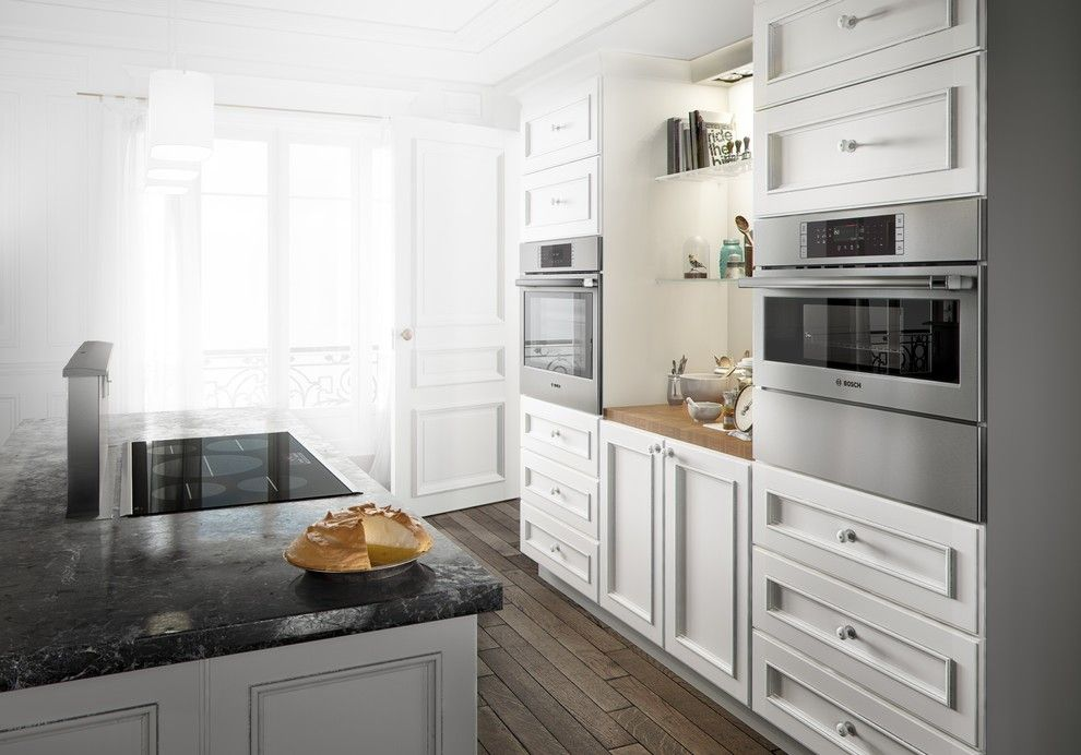 Hideaway Storage for a Contemporary Kitchen with a Wall Island and Bosch Kitchens by Bosch Home Appliances