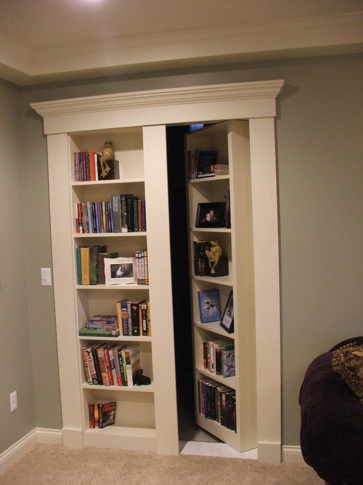 Hideaway Storage for a Traditional Basement with a Secret Door Bookcase and White Lake / Commerce Michian Finished Basement by Finished Basements Plus & Hideaway Storage for a Traditional Basement with a Secret Door ...