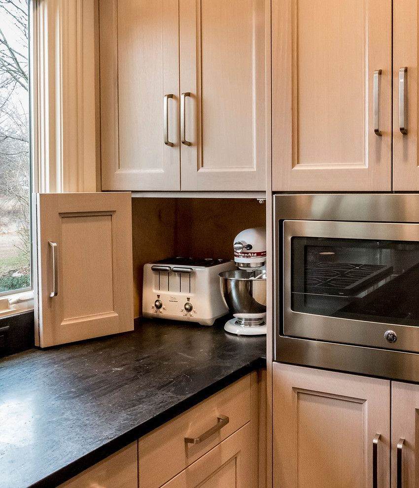 Hideaway Storage for a Transitional Kitchen with a Small Kitchen Appliances and Lake View   Sugar Grove, Il by Pb Kitchen Design