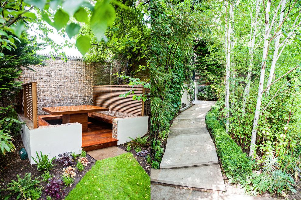Hilliard Lawn and Garden for a Contemporary Landscape with a Finest and Banquette Dining Area Maida Vale: Designed and Constructed by the Garden Builder by the Garden Builders