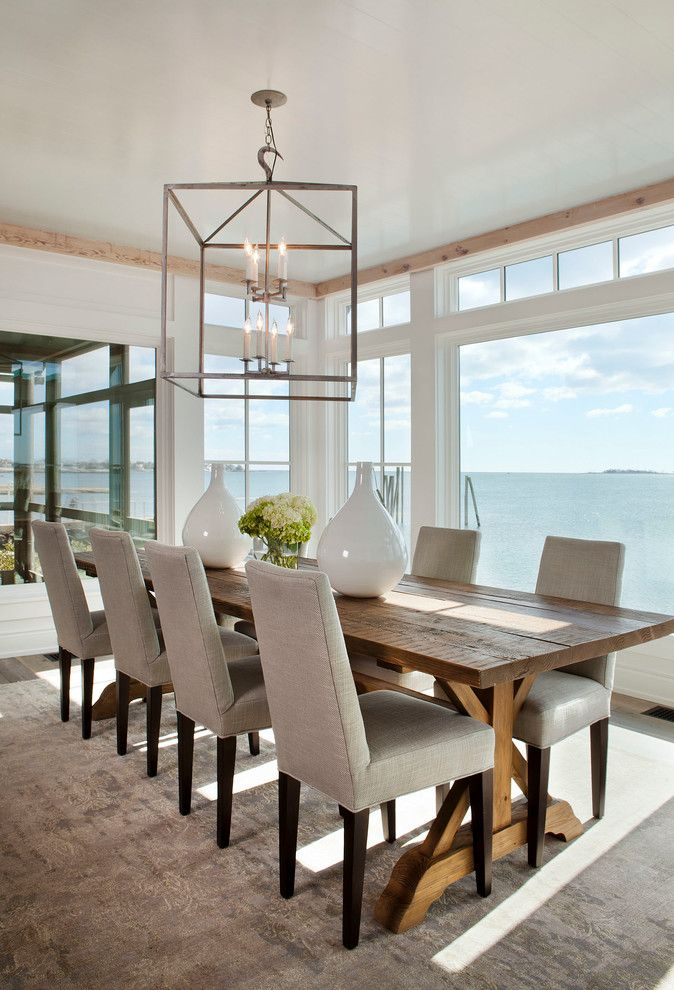 Hobby Lobby Orlando for a Beach Style Dining Room with a Square Pendant and Contemporary Waterfront by Michael Greenberg & Associates