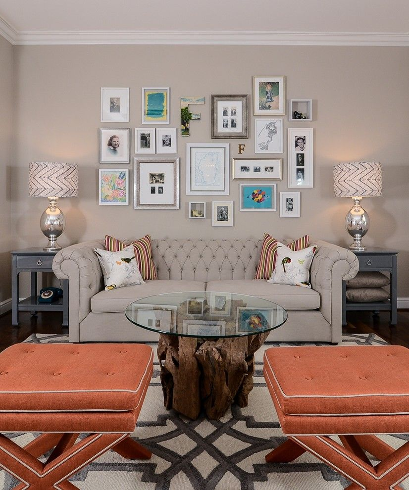 Hobby Lobby Orlando for a Transitional Family Room with a Framed Photo Collage and Cool Calm + Curated by Kerrie L. Kelly