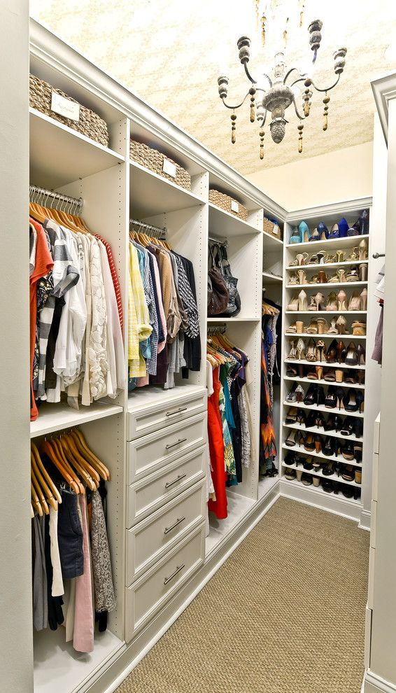 Holy Lamb Organics for a Traditional Closet with a Shoe Storage and Custom Closet Organization | Organized Living Classica in Bisque by Organized Living
