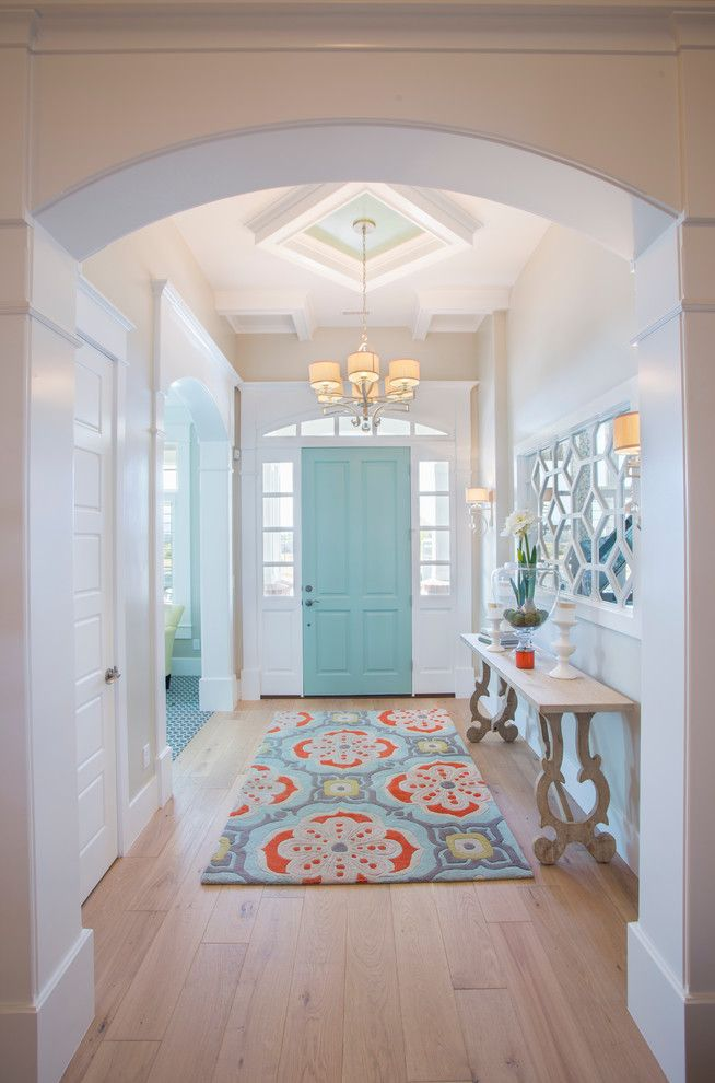 Home Decor Liquidators for a Transitional Entry with a Turquoise Door and 2014 Parade Home - Lehi by Joe Carrick Design - Custom Home Design