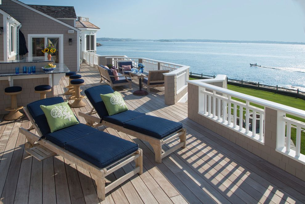 Home Depot Deck Designer for a Beach Style Deck with a Blue Countertop and Cape Ann Oceanfront Exterior Renovation by Howell Custom Building Group