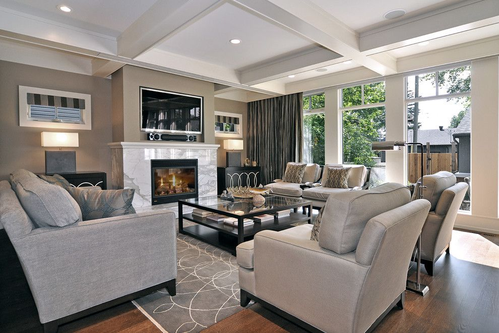 Home Depot Fairfax for a Transitional Living Room with a Stone Fireplace Surround and Living Room by Bruce Johnson & Associates Interior Design
