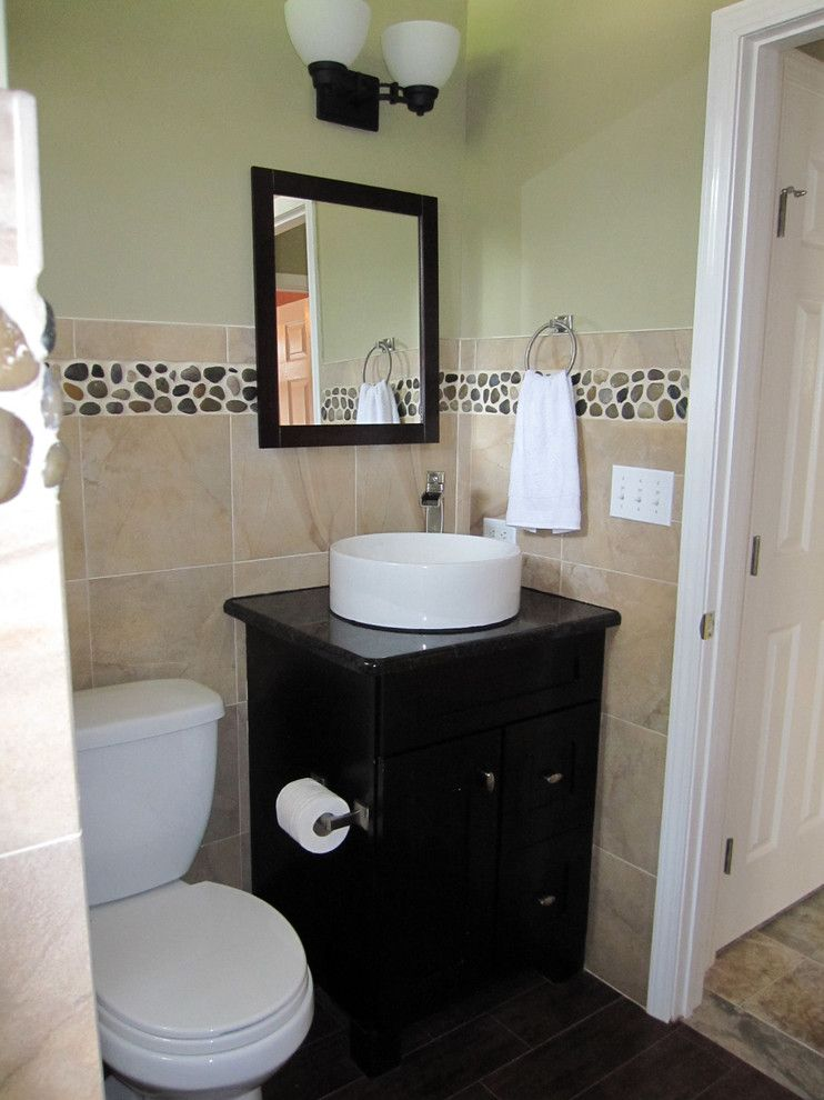 Home Depot Howell Mi for a Traditional Bathroom with a Powder Room and Amy Steenson by Amy's Affordable Interiors