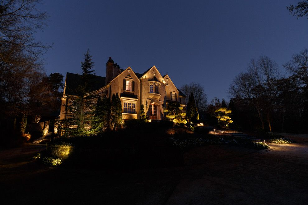Home Depot Marietta Ga for a Traditional Exterior with a Double Entry Doors and Marietta, Ga House and Backyard Lighting Project #3 by Nightvision Outdoor Lighting