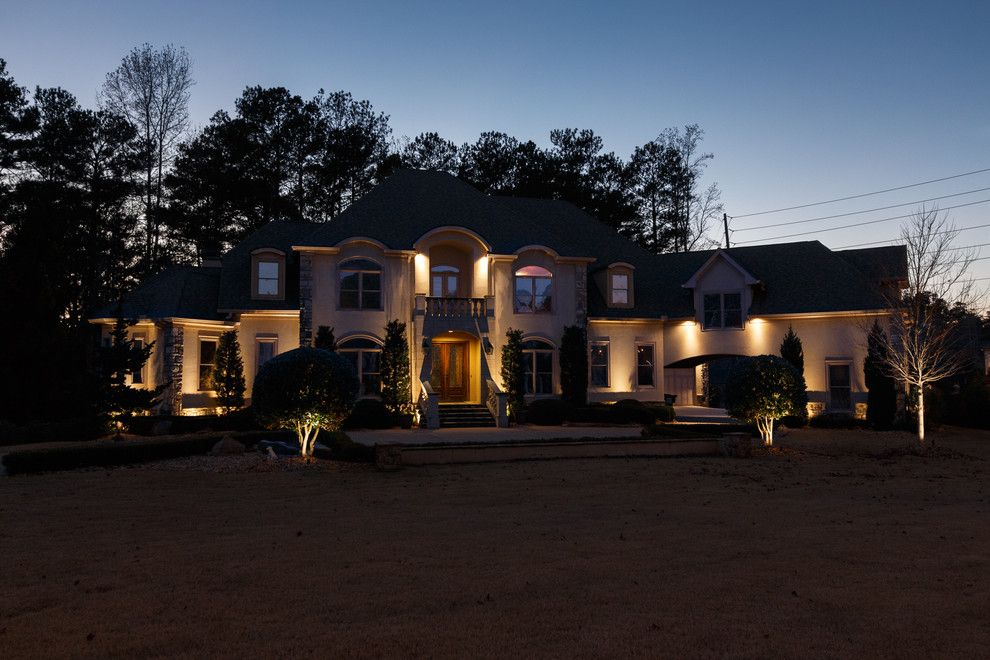 Home Depot Marietta Ga for a Transitional Spaces with a Stucco Exterior and Marietta, Ga House Lighting Project #2 by Nightvision Outdoor Lighting