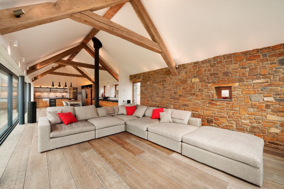 Home Improvement Cast for a Contemporary Living Room with a Exposed Brick and New Home in Devon by Trewin Design Architects